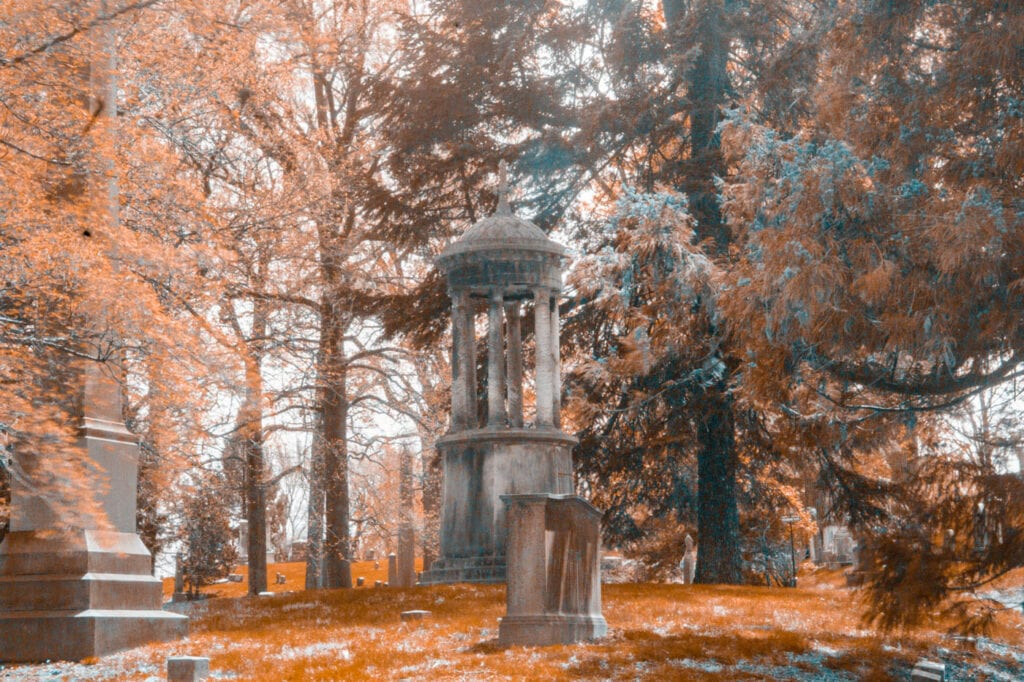 Infrared cemetery photography